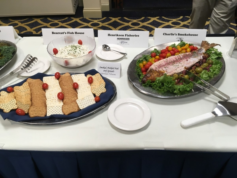 Door and Kewaunee County foods at our evening reception at the Premier Park Hotel. — with Bearcat's Fish House, Henriksen Fisheries and Charlie's Smokehouse